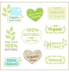 Badge set of certified organic natural food vector