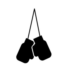 black icon hanging boxing gloves vector image