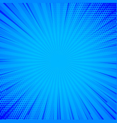 blue comic background with lines and halftone vector image vector image
