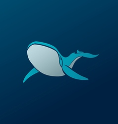 Blue whale logo sign emblem on dark blue vector