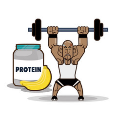 Bodybuilder fitness protein banana vector