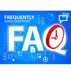 Bright faq and clock on blue background for vector