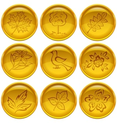 Buttons set nature vector image