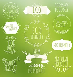 Collection of green labels and badges for organic vector image