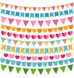 Colorful garlands and bunting flags vector image vector image