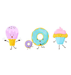 Cute sweet cartoon food icons set vector