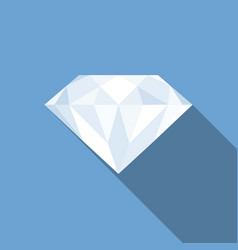 diamond icon with long shadow vector image vector image