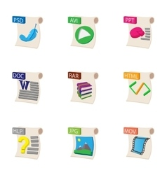 Documents icons set cartoon style vector