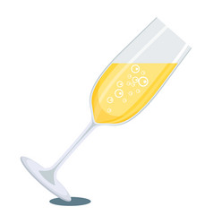glass of white champagne vector image vector image