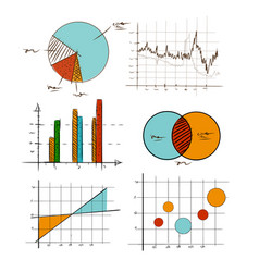 hand drawing chart graphic collection set for vector image vector image