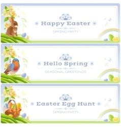 Happy easter spring nature banner set vector
