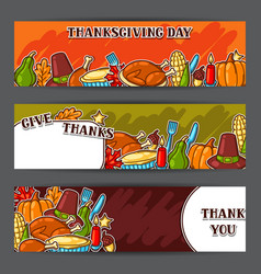 happy thanksgiving day banners with holiday vector image vector image