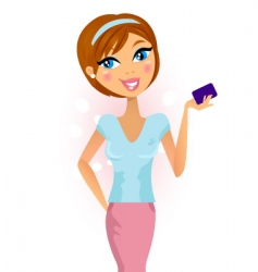 Happy woman with credit card vector
