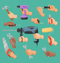Human worker hands holding construction repair vector