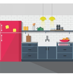 Kitchen furniture cozy interior vector