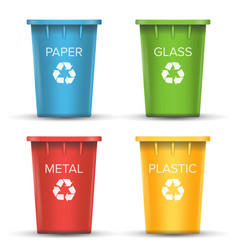 Multicolored recycling bins 3d realistic vector