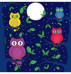 Owls in a moonlit night vector