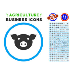 Pig head rounded icon with set vector