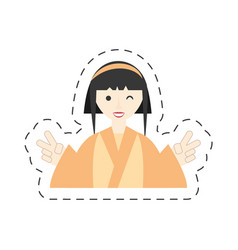 Portrait character japanese woman attire costume vector