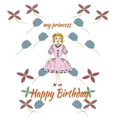 Princess pink birthday card vector