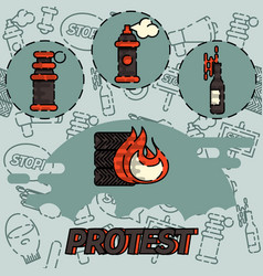 Protest flat concept icon vector