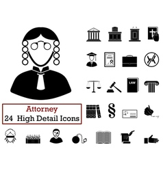 Set of 24 Attorney Icons vector image