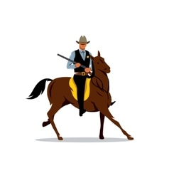 Sheriff with gun and the horse cartoon vector