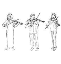 Sketch of man and women playing the violins vector