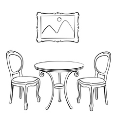 Sketched chairs table and picture frame vector image