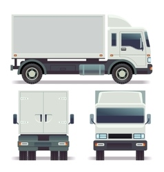 Small truck front back and side view for cargo vector image