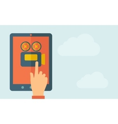 Touch screen tablet with video cam icon vector