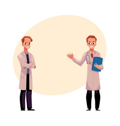 two doctors in medical coats holding stethoscope vector image vector image