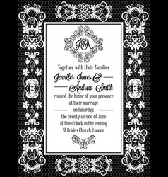 vintage baroque style wedding invitation card vector image vector image