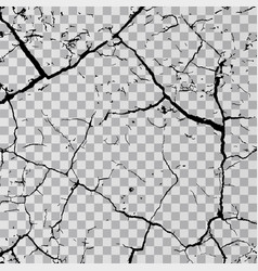 Wall cracks isolated on transparent background vector