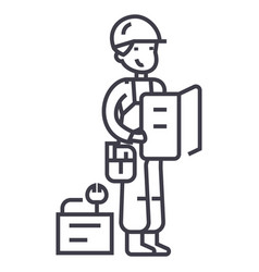 worker with plan and tools line icon sign vector image