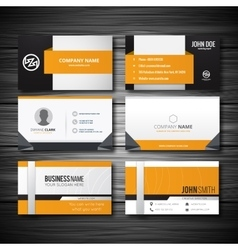 Yellow buisness card with light wooden texture vector