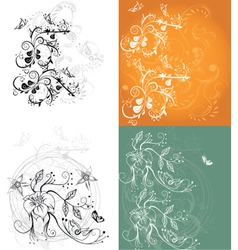 Floral vines background vector