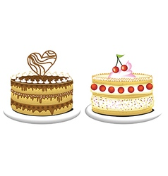 Milky cake and chocolate cake vector