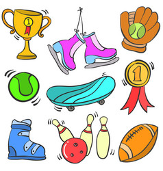 collection of object sport various vector image