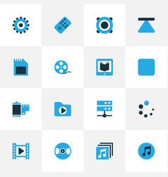 Music colorful icons set collection of datacenter vector