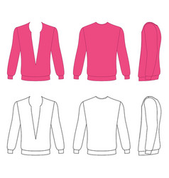 Long sleeve t-shirt outlined template vector