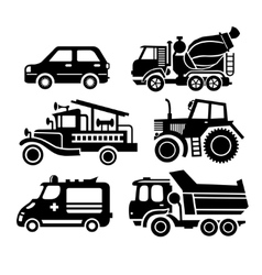 Car icon black transportation set vector
