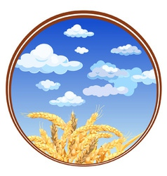 Spikelets against the sky in a circle vector