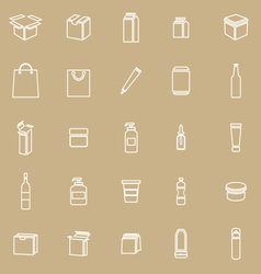 Packaging line icons on brown background vector