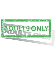Green outlined adults only stamp vector