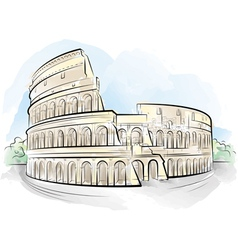 Watercolor colosseum vector