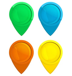 Set of glossy glass tag map green blue red yellow vector