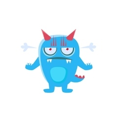 Angry Blue Monster With Horns And Spiky Tail vector image vector image