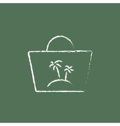 Beach bag icon drawn in chalk vector