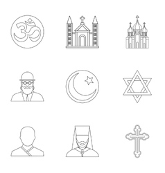Beliefs icons set outline style vector